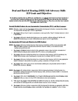 Bundled DHH IEP Goals and Objectives