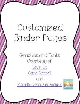Bundled Editable Binder Pages