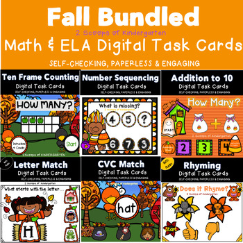 Bundled Fall Math & ELA Task Cards Power Point Games