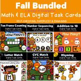 Bundled Fall Math & ELA Task Cards Power Point Games