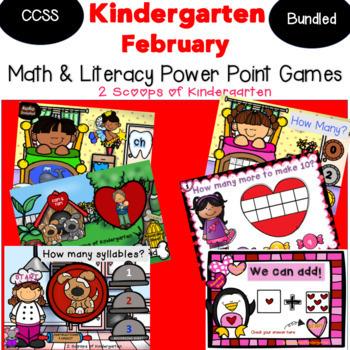 Bundled February Kindergarten Math & Literacy Power Point Games