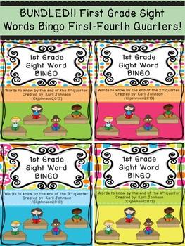 Bundled First Grade Sight Words Bingo First-Fourth Quarters