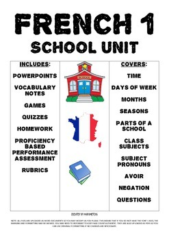 Bundled French 1 School Unit