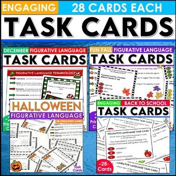 Bundled Halloween, Fall, and Winter Figurative Language Task Cards