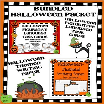 Bundled Halloween Figurative Language Task Cards and Hallo