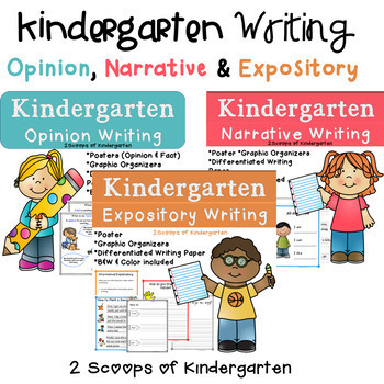 Bundled Kindergarten Common Core Aligned Narrative, Expository & Opinion Writing