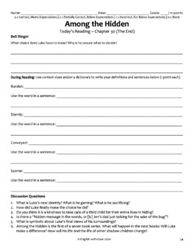 Among the Hidden Novel Study Bundled Lesson Plans & Student Packet