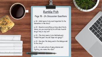 Rumble Fish Novel Study Bundled Lesson Plans & Student Packet