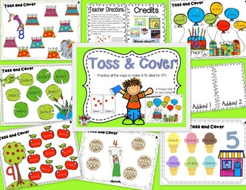 Bundled Math Facts Practice for RTI - Toss and Cover & Toss and Color