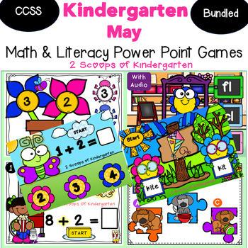 Bundled May Kindergarten Math & Literacy Power Point Games