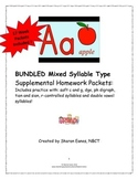 Bundled Mixed Syllable Supplemental Homework Packets 7-9