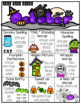 Bundled Monthly Word Work Choice Boards