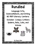 Bundled October NO PREP Literacy Centers: SPIDERS, BATS, CATS, AND WOLVES