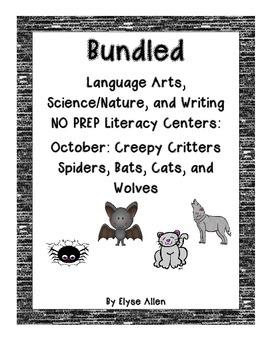 Bundled October NO PREP Literacy Centers: SPIDERS, BATS, C
