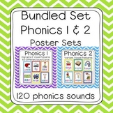Bundled Phonics 1 & 2 Sounds Poster Set (120 sounds - chevron borders)