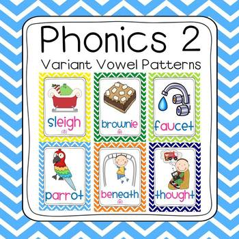 Bundled Phonics 1 & 2 Sounds Poster Set (120 sounds - chevron borders)