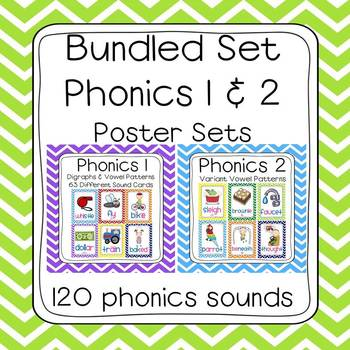 Bundled Phonics 1 & 2 Sounds Poster Set (120 sounds - chev