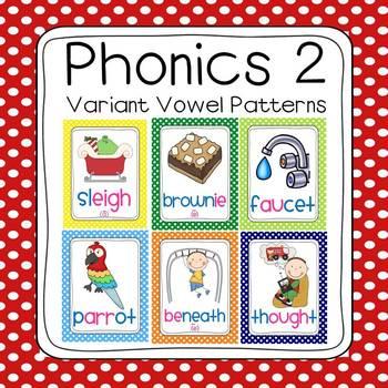 Bundled Phonics 1 & 2 Sounds Poster Set (120 sounds - polka dot borders)