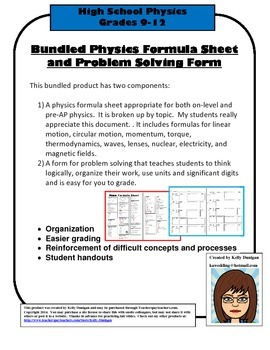 Bundled Physics Formula Chart and Problem Solving Form