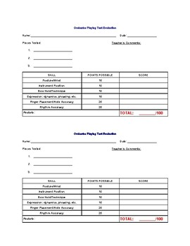 Bundled Playing Test Evaluation Forms