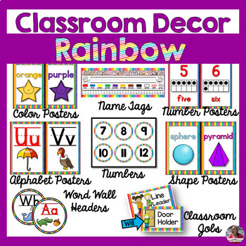 Colorful Rainbow Classroom Decor BUNDLE