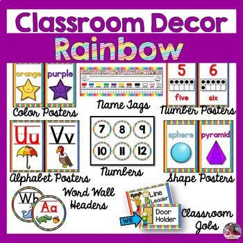 Colorful Rainbow Classroom Decor BUNDLE