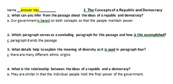 Bundled Rdg Passages for Differentiated Learning: The U.S. Government