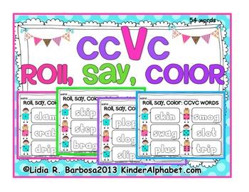 Bundled Roll, Say, Color for CVC, CVCC and CCVC words