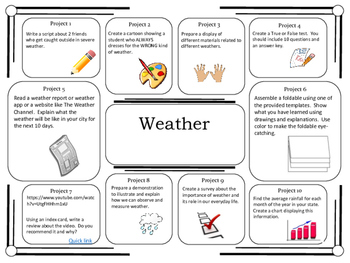 Bundled! Science Project Choice Board: 26 Earth Science Topics