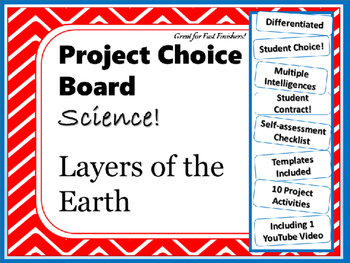 Science Project Choice Board: Layers of Earth- 10 Projects