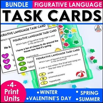 Three Bundled Seasonal Figurative Language Task Cards