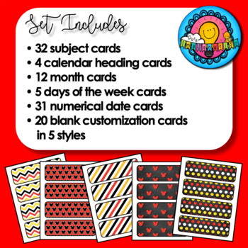 Bundled Set Disney Mickey Inspired Banner & Subject Schedule Cards & Calendar