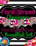 Bundled Set Floral & Stripes Themed Banner & Subject Schedules Cards & Calendar