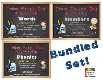 Trace, Glue & Write Bundled Set - Count, Say & Read