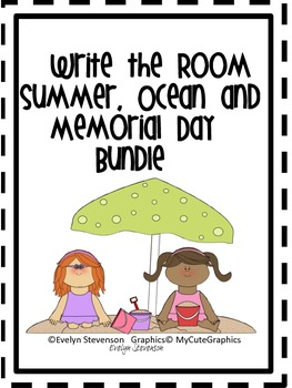 Bundled Set:  Summer, Ocean and Memorial Day Write the Room Sets