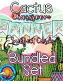 Bundled Set Watercolor Cactus Themed Banner & Subject Schedules Cards & Calendar