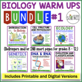 Biology Interactive Notebooks or Warm Ups Bundled Set Part 1