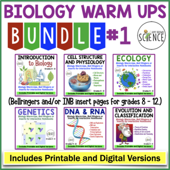 Biology Warm Ups Bundle: Cells, Ecology, Genetics, DNA, Evolution