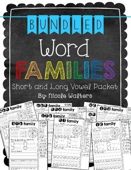 Bundled Short & Long Vowel Word Families – {Interactive Printables}