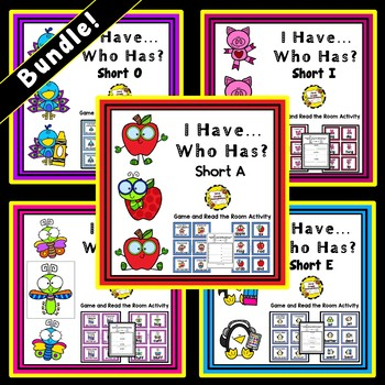 Bundled Short Vowels: Read the Room and I Have, Who Has Activities