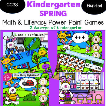 Bundled Spring Kindergarten Math & Literacy Power Point Games