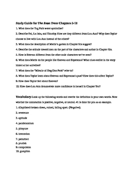 Bundled Study Guide Chapters 1-17 The Bean Trees