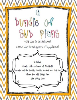 Bundled Sub Plans: 5 Days Worth of Individual Sub Plans