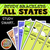 United States Bracelets with States, Capitals, Abbreviatio