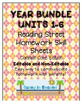 Bundled Units 1-6 Reading Street - Common Core Ed - Homework Skill Sheets