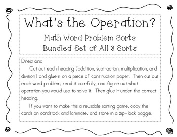 "Bundled ""What's the Operation"" Math Word Problem Sort 1, 2, & 3"