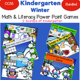 Bundled Winter Kindergarten Math & ELA Power Point Games