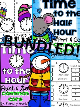 Bundled! Winter Theme Telling Time to Hour, Half Hour