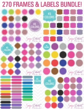 Clip Art 270 Frames and Labels Bundle
