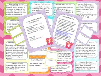 """Bundles- 2nd ELA and Math """"I can"""" Statements- Learning Goals and EQ'S"""
